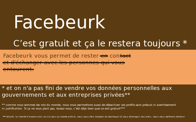 Facebeurk, créé par Julien Gouesse [Facebeurk, created by Julien Gouesse]