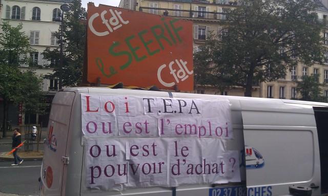 Loi T.E.P.A. Où est l'emploi? Où est le pouvoir d'achat? (CFDT le SEERIF)