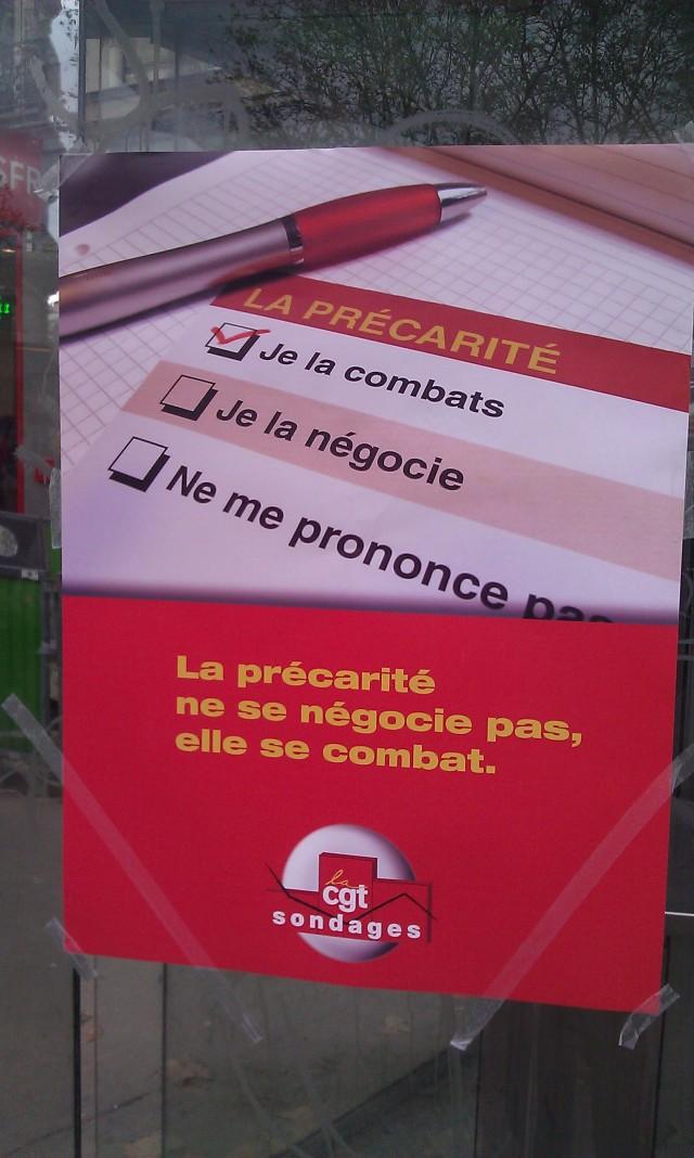 La précarité ne se négocie pas, elle se combat (CGT sondages)