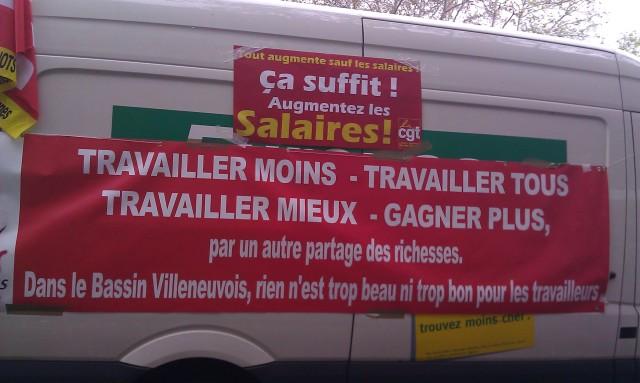 Travailler moins, travailler tous, travailler mieux, gagner plus par un autre partage des richesses. Dans le bassin villeneuvois, rien n'est trop beau ni trop bon pour les travailleurs (CGT Villeneuve-Saint-Georges, Val-de-Marne, Ile-de-France)