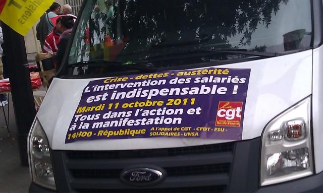 Crise, dettes, austérité, l'intervention des salariés est indispensable. Mardi 11 octobre 2011, tous dans l'action et à la manifestation (CGT)