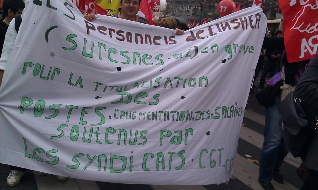 Les personnels de l'INS HEA (Suresnes 92) en grève pour la titularisation des postes, l'augmentation des salaires. Soutenus par les syndicats (CGT)