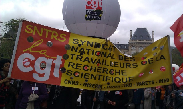 SNTRS (Syndicat national des travailleurs de la recherche scientifique : CNRS, INSERM, INRIA, IRD, INRETS, INED) CGT