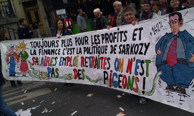 Toujours plus pour les profits et la finance, c'est la politique de Sarkozy. Salaires, emploi, retraites, on n'est pas des pigeons (CGT)