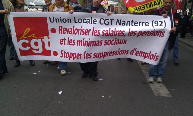 Revaloriser les salaires, les pensions et les minima sociaux, stopper les suppressions d'emplois (Union locale CGT Nanterre 92)
