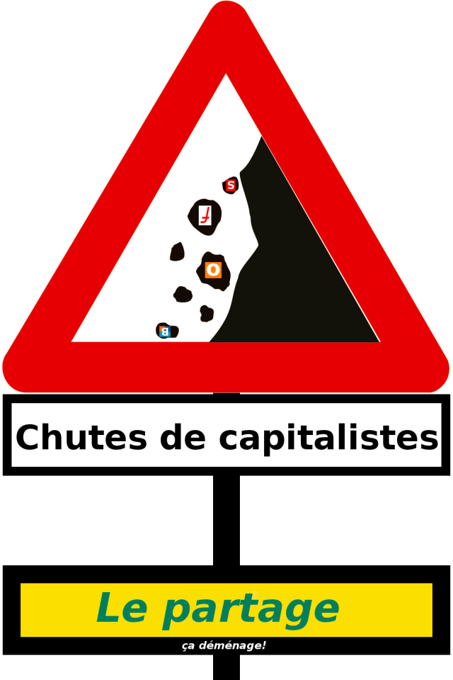 Chutes de capitalistes : Le partage, ça déménage! [Falls of capitalists: sharing rocks!], Julien Gouesse, under Creative Commons License BY-NC-SA