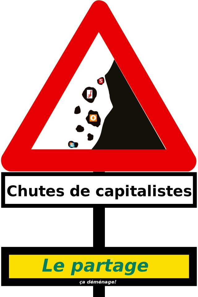 Chutes de capitalistes : Le partage, ça déménage! [Falls of capitalists: sharing rocks!], Julien Gouesse, under Creative Commons License BY-NC-SA