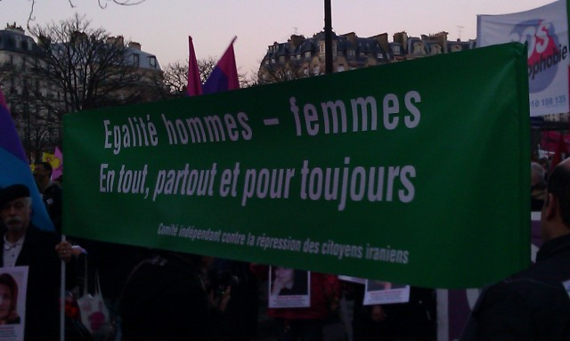 Egalité hommes femmes, en tout, pour tout et pour toujours, comité indépendant contre la répression des citoyens iraniens [Gender equality at all, for all and forever, independent commitee against the repression of Iranian citizens]