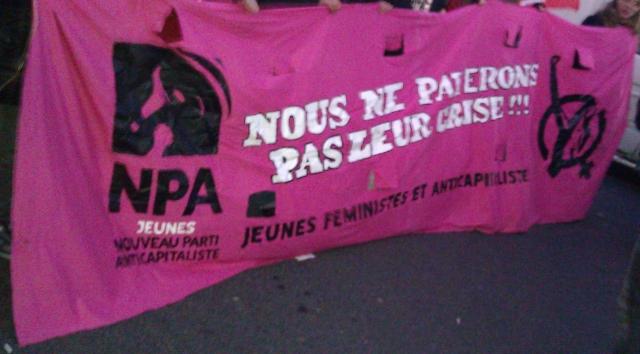Nous ne payerons pas leur crise, jeunes féministes anticapitalistes, Nouveau Parti Anticapitaliste [We won't pay for their crisis, young anticapitalist feminists, New Anticapitalist Party]