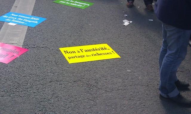 Non à l'austérité, partage des richesses, Solidaires [No to austerity, wealth sharing, Solidaires]