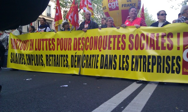 Partout en luttes pour des conquêtes sociales! Salaires, emplois, retraites, démocratie dans les entreprises, CGT Ile-de-France [Everywhere in struggles for social conquests! Wages, jobs, pensions, democracy in corporations, CGT Paris metropolitan region]