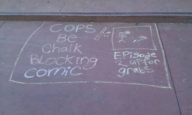 BD à la craie d'un blocage avec des flics [Cops be chalk blocking comic]
