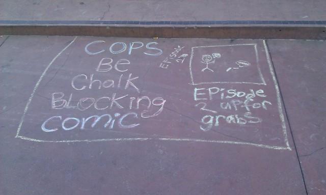BD à la craie d'un blocage avec des flics [Cops be chalk blocking comic]