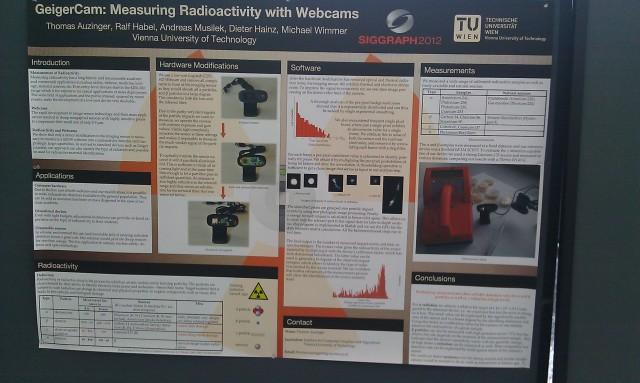 SIGGRAPH 2012 poster : GeigerCam : mesurer la radioactivité avec des webcams [SIGGRAPH 2012 poster: GeigerCam: Measuring Radioactivity With Webcams]