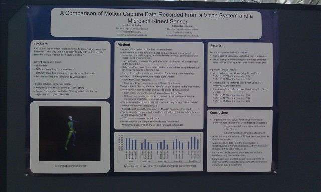 SIGGRAPH 2012 poster :  [SIGGRAPH 2012 poster: A comparison of motion capture data recorded from a vicon system and a Microsoft Kinect sensor]