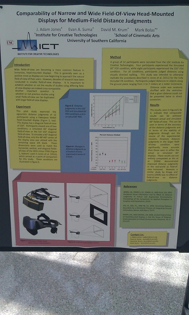 SIGGRAPH 2012 poster :  [SIGGRAPH 2012 poster: Comparability of narrow and wide field-of-view head-mounted displays for medium-field distance judgments]