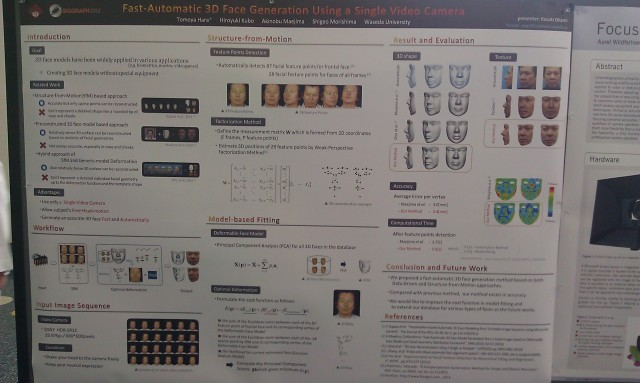 SIGGRAPH 2012 poster :  [SIGGRAPH 2012 poster: Fast automatic 3D face generation using a single video camera]