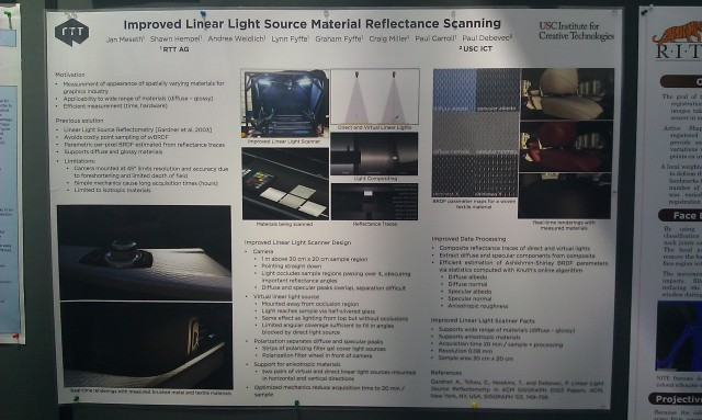 SIGGRAPH 2012 poster :  [SIGGRAPH 2012 poster: Improved linear light source material reflectance scanning]