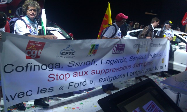 Cofinoga, Sanofi, Lagarde, services publics, ... Stop aux suppressions d'emplois. Avec les Ford, exigeons l'emploi pour tous, CGT, CFTC, FSU, Solidaires, CFDT, FO [Cofinoga, Sanofi, Lagarde, public utilities, ... Stop the job cuts. With Ford employees, let us demand jobs for all, CGT, CFTC, FSU, Solidaires, CFDT, FO]