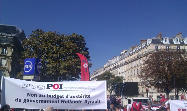 Non au budget d'austérité du gouvernement Hollande-Ayrault, POI [No to Holland-Ayrault government's austerity budget, POI]