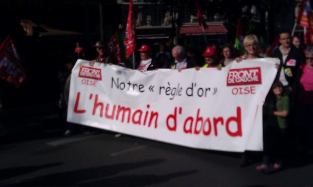 Notre règle d'or, l'humain d'abord, Front de Gauche de l'Oise [Our golden rule, the human being first, Left-wing Front of the Oise]