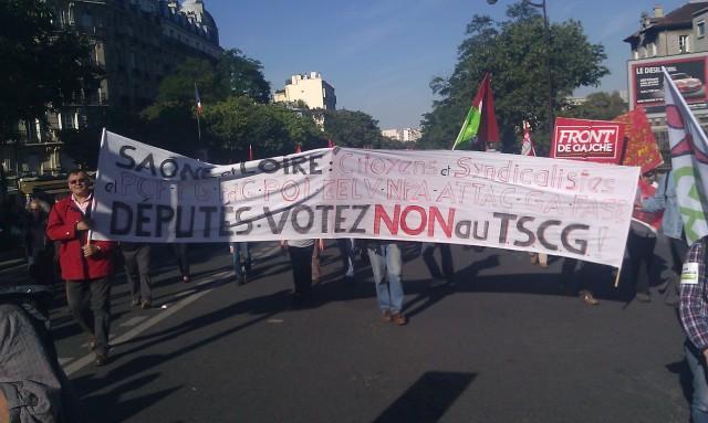 Députés, votez non au TSCG!, Saône-et-Loire : citoyens, syndicalistes, PCF, PG, POI, EELV, NPA, ATTAC, GA, FASE