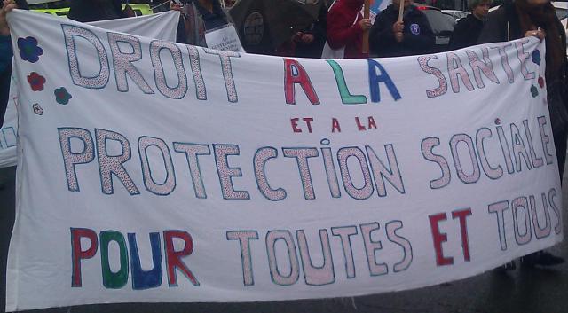 Droit à la santé et à la protection sociale pour toutes et tous [Right to health and social welfare for everyone]