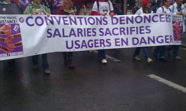 Conventions dénoncées, salaires sacrifiés, usagers en danger, SUD santé [Denounced agreements, sacrificed wages, users at risk, SUD health]