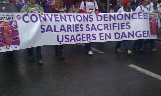 Conventions dénoncées, salaires sacrifiés, usagers en danger, SUD santé [Denounced agreements, sacrificed wages, users at risk, SUD health]