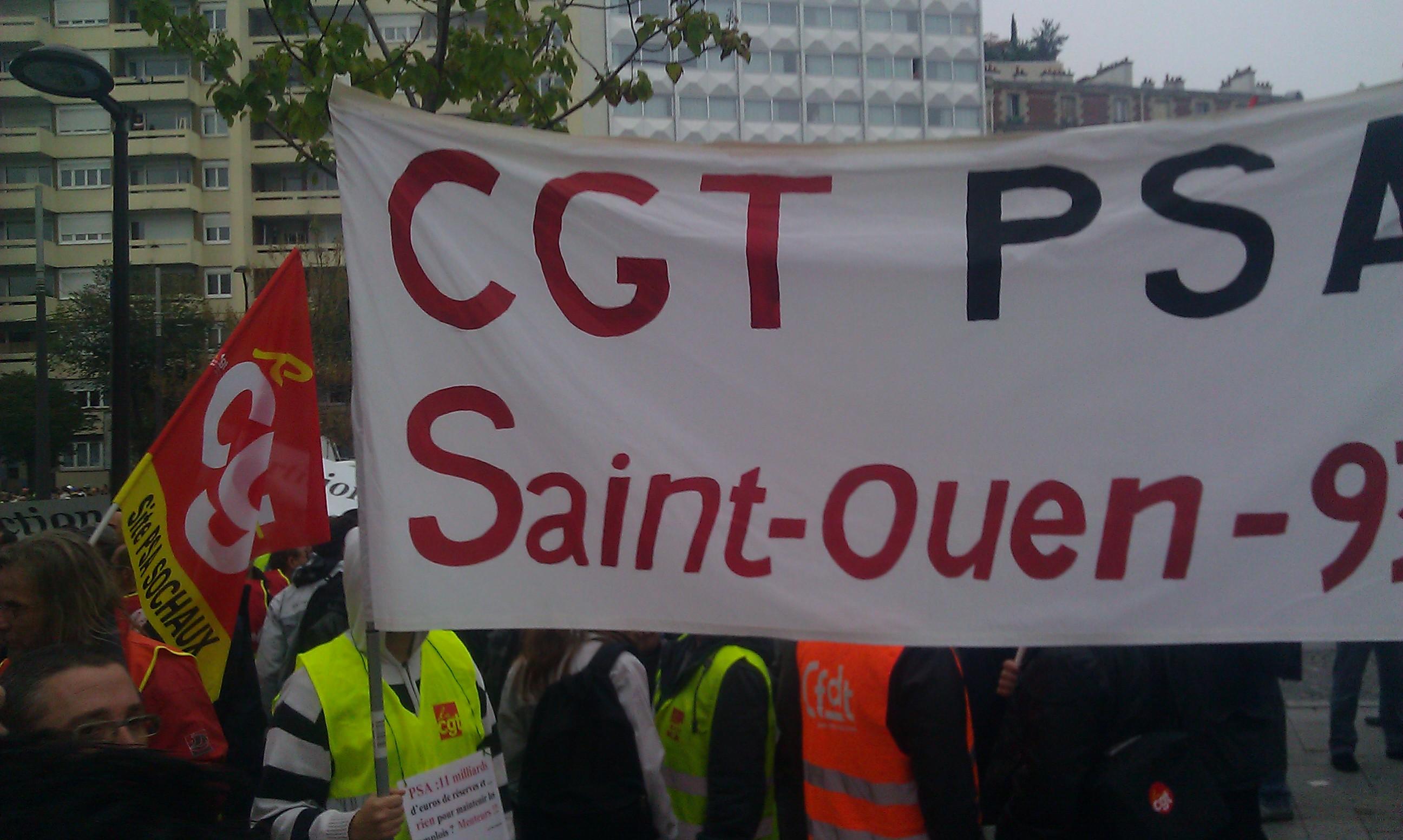 Manifestation des salari s de psa au mondial de l automobile paris mardi 9 - Mondial relay saint ouen ...