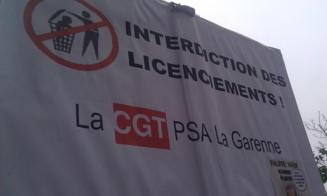 Interdiction des licenciements, CGT PSA La Garenne [Prohibition of layoffs, CGT PSA La Garenne]