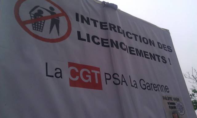 Interdiction des licenciements, CGT PSA La Garenne [Prohibition of layoffs, CGT PSA La Garenne]