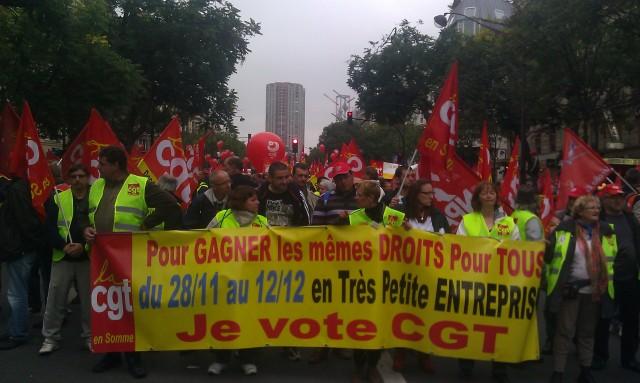 Pour gagner les mêmes droits pour tous, du 28 novembre au 12 décembre en très petite entreprise, je vote CGT, CGT Somme []
