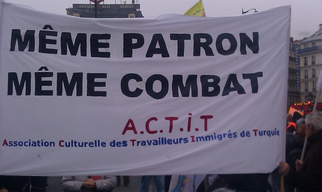 Même patron, même combat, association culturelle des travailleurs immigrés de Turquie [Same boss, same struggle, cultural association of immigrant workers from Turkey]