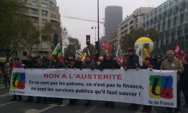 Non à l'austérité. Ce ne sont pas les patrons, ce n'est pas la finance, ce sont les services publics qu'il faut sauver, FSU Ile-de-France [No to austerity. These are neither the bosses, nor the finance but rather the public utilities that have to be saved, FSU Paris metropolitan region]