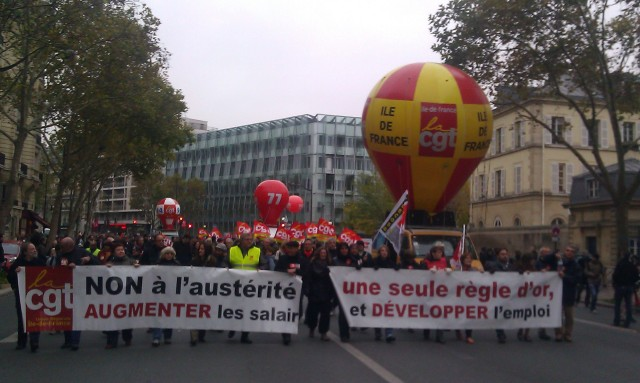 Non à l'austérité, une seule règle d'or, augmenter les salaires et développer l'emploi, CGT Ile-de-France [No to austerity, a single golden rule, raise wages and increase employment, CGT Paris metropolitan region]