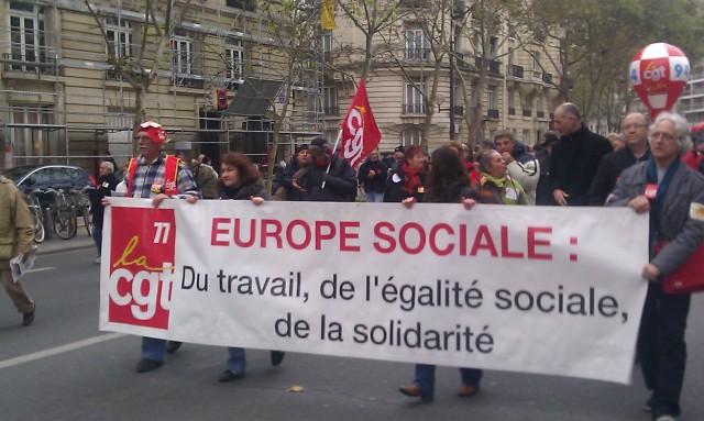 Europe sociale : Du travail, de l'égalité sociale, de la solidarité, CGT 77 [Social Europe: Work, social equality, solidarity, CGT 77]
