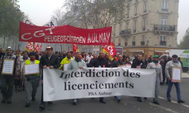 Interdiction des licenciements, CGT PSA Aulnay [Prohibition of layoffs, CGT PSA Aulnay]