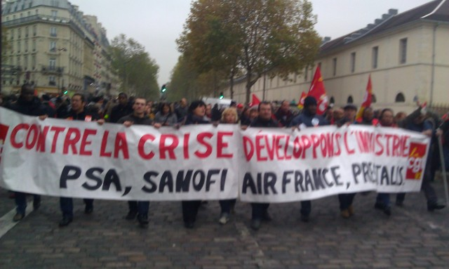 Contre la crise, développons l'industrie. PSA, Sanofi, Air France, Presstalis, CGT 93 [Against the crisis, let us develop industry. PSA, Sanofi, Air France, Presstalis, CGT 93]