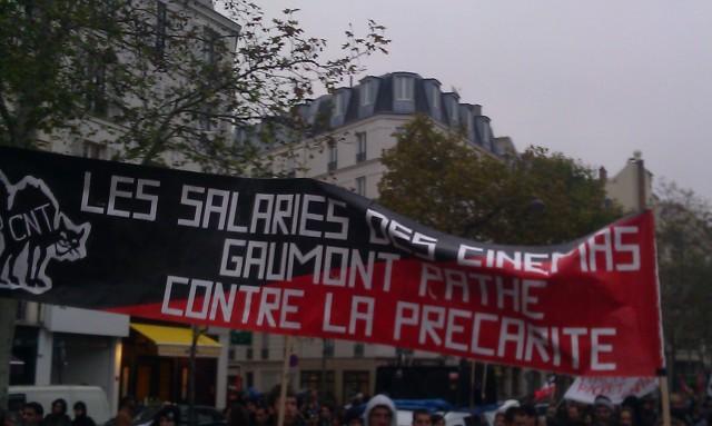 Les salariés des cinémas Gaumont Pathé contre la précarité, CNT [Employees of cinemas Gaumont Pathé against job insecurity, CNT]