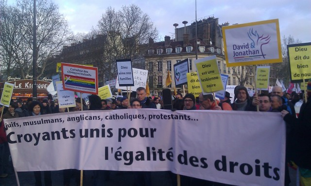 Juifs, musulmans, anglicans, catholiques, protestants, ... Croyants unis pour l'égalité des droits [Jews, Muslims, Anglicans, Catholics, Protestants, ... Believers united for equal rights]