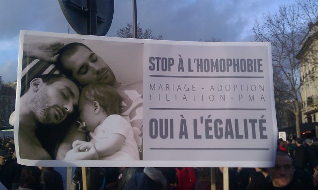 Stop à l'homophobie, mariage, adoption, filiation, PMA, oui à l'égalité [Stop homophobia, marriage, adoption, filiation, MAP, yes to equality]