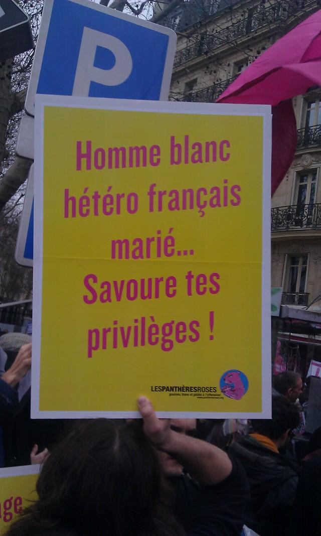 Homme blanc hétéro français marié... savoure tes privilèges, les panthères roses [White hetero French man... savor your privileges, the pink panthers]