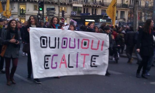 Oui oui oui égalité [Yes yes yes equality]