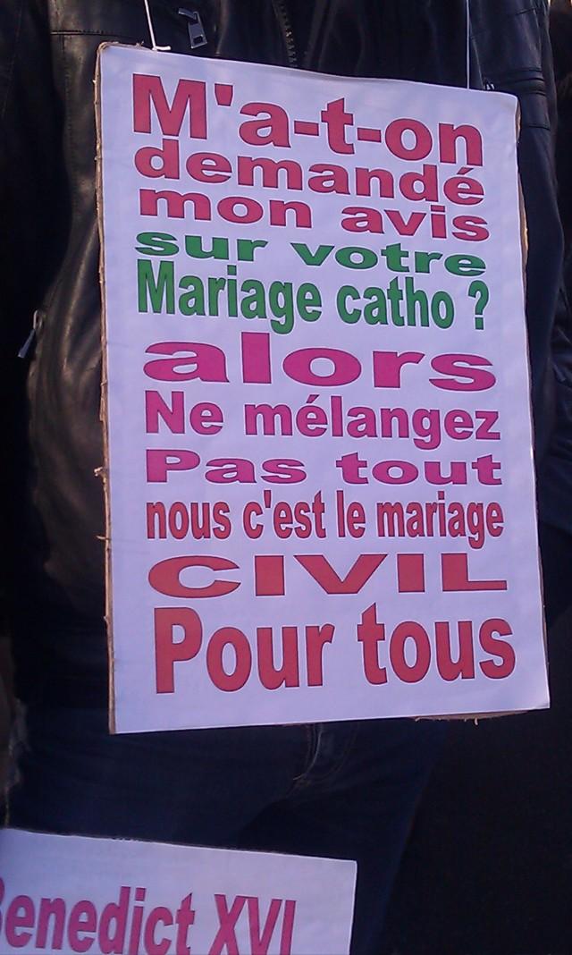 M'a-t-on demandé mon avis sur votre mariage catho? alors ne mélangez pas tout. Nous c'est le mariage civil pour tous []