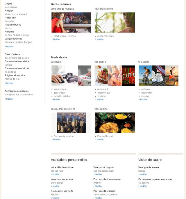 Profil détaillé sur Meetic Affinity [Detailed profile on Meetic Affinity]