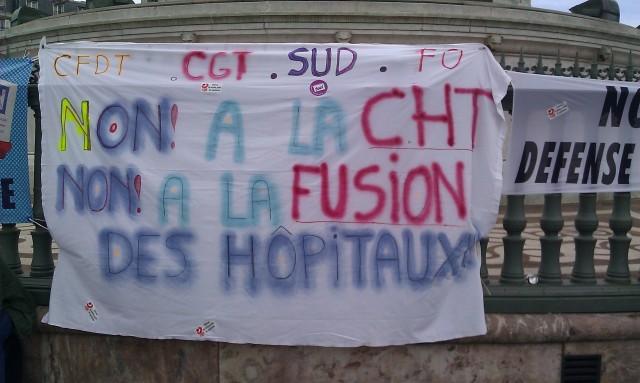 Non à la CHT! Non à la fusion des hôpitaux!, CFDT, CGT, SUD, FO [, CFDT, CGT, SUD, FO]