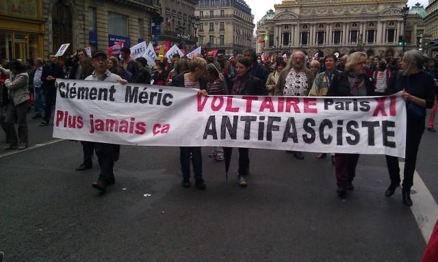 Clément Méric plus jamais ça, Voltaire Paris XI antifasciste [Clément Méric never again, Voltaire Paris XI antifascist]