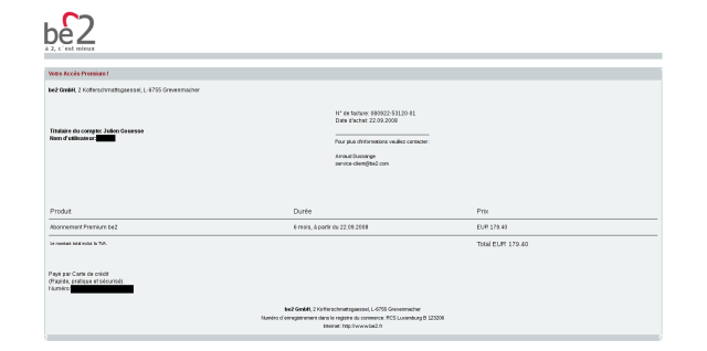 Courriel de confirmation du paiement de l'accès Premium à Be2 [confirmation email for the payment of the Premium acces on Be2]