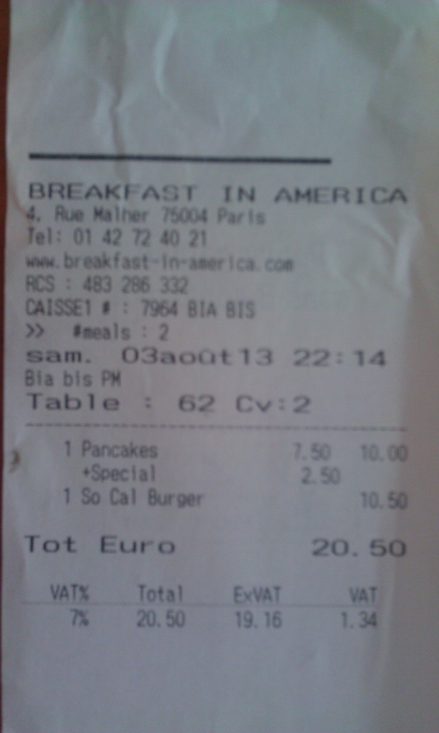 Ticket de caisse Breakfast in America [Sales receipt Breakfast in America]